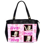 live laugh love pink hearts oversized office bag - Oversize Office Handbag (2 Sides)