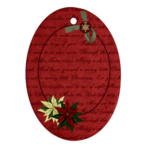 Holly Jolly Poinsettia By Bitsoscrap   Ornament (oval)   Gq73r76o9rdx   Www Artscow Com Front