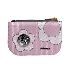 Simple Pink Flowers Mini Coin Purse By Klh   Mini Coin Purse   Rxmkwf75nzeo   Www Artscow Com Back