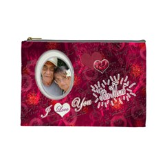 I Heart You This Much Pink White Large Cosmetic Bag By Ellan   Cosmetic Bag (large)   Qxv62g5pj4x5   Www Artscow Com Front
