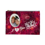 I heart you THIS MUCH pink white large cosmetic bag - Cosmetic Bag (Large)