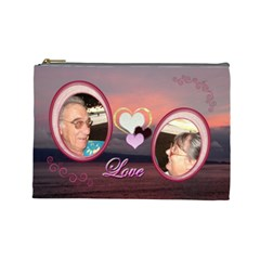 I Heart You 35 Love Sunset Large Cosmetic Bag By Ellan   Cosmetic Bag (large)   7fl45npicp2u   Www Artscow Com Front