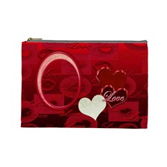 I Heart You Love Red  Large Cosmetic Bag By Ellan   Cosmetic Bag (large)   Fr25rele91qz   Www Artscow Com Front