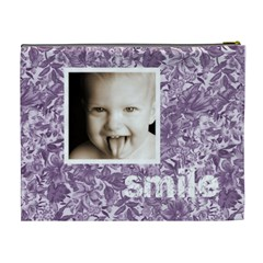 Cute Smile Purple Floral Cosmetic Bag By Catvinnat   Cosmetic Bag (xl)   Ag7j1gii3w6y   Www Artscow Com Back