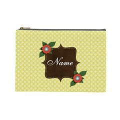 Cosmetic Bag (large)  Template Yellow By Jennyl   Cosmetic Bag (large)   C71txqqik4nc   Www Artscow Com Front