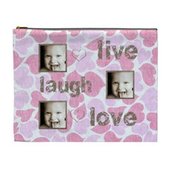 Pink Hearts Live, Laugh, Love Extra Large Cosmetic Bag By Catvinnat   Cosmetic Bag (xl)   Anrdvvzwkf8j   Www Artscow Com Front