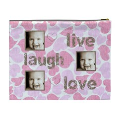 Pink Hearts Live, Laugh, Love Extra Large Cosmetic Bag By Catvinnat   Cosmetic Bag (xl)   Anrdvvzwkf8j   Www Artscow Com Back