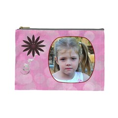 Pink Daisy Large Cosmetic Case 2 By Joan T   Cosmetic Bag (large)   0vpdm6ceo6gw   Www Artscow Com Front