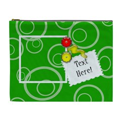Green Circles Custom Cosmetic Bag (XL) by purplekiss Front