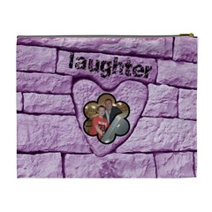 Love & Laughter Purple Heart Extra Large Cosmetic Bag By Catvinnat   Cosmetic Bag (xl)   87k5w9lz7zr0   Www Artscow Com Back