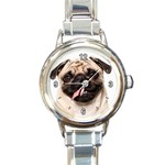 CUTE PUG STICKING OUT TONGUE DOG ROUND ITALIAN CHARM WATCH