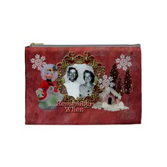 Remember When Christmas Medium Cosmetic Bag By Ellan   Cosmetic Bag (medium)   Qlkj8j4ga5gb   Www Artscow Com Front