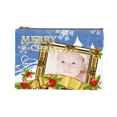 Merry Christmas By Joely   Cosmetic Bag (large)   B38xnw0l57ht   Www Artscow Com Front