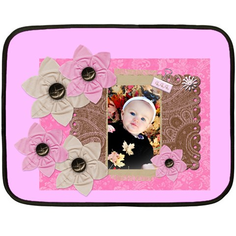 Pink Flower Blanket By Danielle Christiansen   Fleece Blanket (mini)   Wqy6r7j5jvw3   Www Artscow Com 35 x27 Blanket