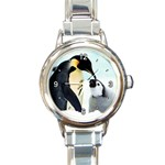 CUTE MOTHER & BABY PENGUIN ROUND ITALIAN CHARM WATCH