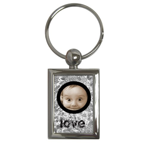 Monochrome 100% Love Keychain By Catvinnat   Key Chain (rectangle)   1y6rjbhshx9f   Www Artscow Com Front