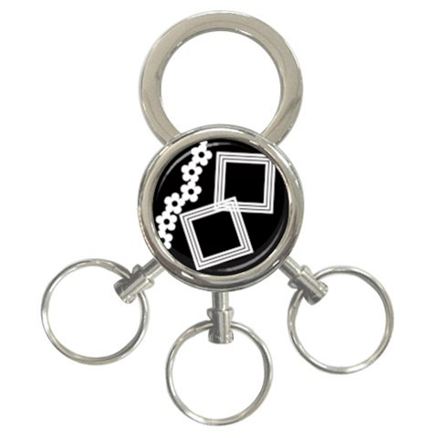 Black And White    Key Chain By Carmensita   3 Ring Key Chain   K75262hmnzg0   Www Artscow Com Front