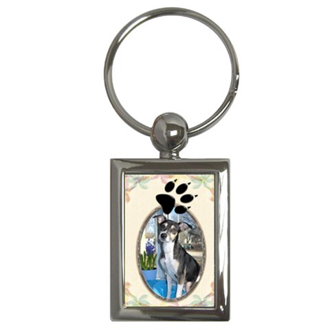 Dog Paw Print Key Chain By Lil    Key Chain (rectangle)   5fvhv4pqo3x2   Www Artscow Com Front