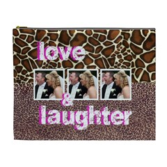 Animal Print Love & Laughter Extra Large Cosmetic Bag By Catvinnat   Cosmetic Bag (xl)   Tx8jl2qh3wq4   Www Artscow Com Front