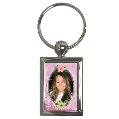 Pink Flower Key Chain By Lil    Key Chain (rectangle)   Typcaqkqj5k1   Www Artscow Com Front