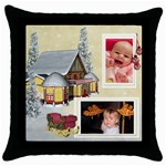 Here Comes Santa throw pillow1 - Throw Pillow Case (Black)