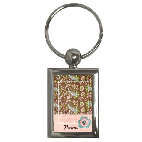 Pink & Brown Paisley Keychain By Mikki   Key Chain (rectangle)   Judjaq5ihj5e   Www Artscow Com Front