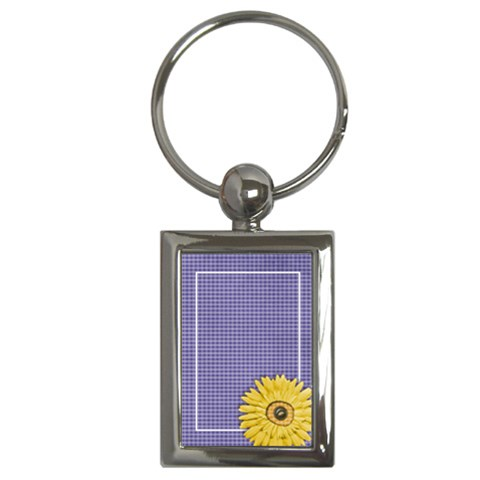 Gingham Daisy Key Chain By Mikki   Key Chain (rectangle)   7e9ekiq0qqzq   Www Artscow Com Front