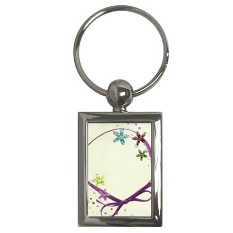 Glitter Flowers Key Chain By Mikki   Key Chain (rectangle)   Uk0ds9dsim3a   Www Artscow Com Front