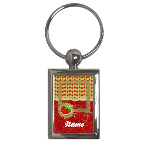 Strawberry  Key Chain By Mikki   Key Chain (rectangle)   Zq9uomfh6x5c   Www Artscow Com Front