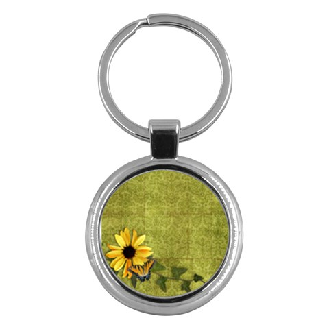 Sunflower & Butterfly Key Chain By Mikki   Key Chain (round)   H14h5yo2pzv8   Www Artscow Com Front