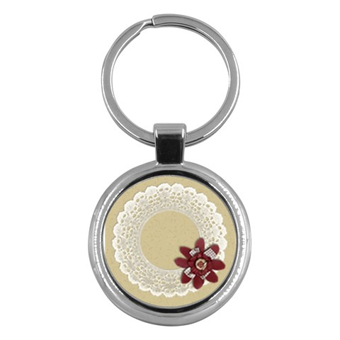 Lace Frame  Key Chain By Mikki   Key Chain (round)   Vjz0if9nc60r   Www Artscow Com Front