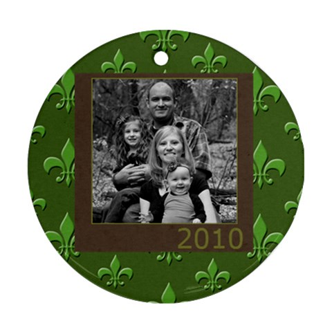 Green Flor De Lis Ornament By Amanda Bunn   Ornament (round)   I4gnc4rh6s03   Www Artscow Com Front