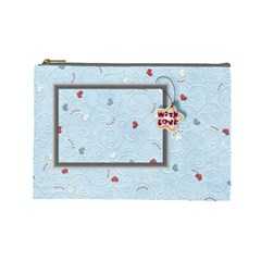 With Love Blue  Large Cosmetic Bag By Daniela   Cosmetic Bag (large)   3usw66ypf3w2   Www Artscow Com Front