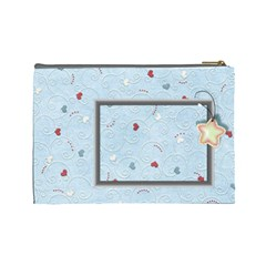 With Love Blue  Large Cosmetic Bag By Daniela   Cosmetic Bag (large)   3usw66ypf3w2   Www Artscow Com Back