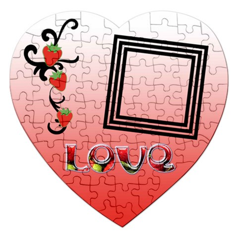 Strawberry Love   Puzzle By Carmensita   Jigsaw Puzzle (heart)   Sv2eczc62pnm   Www Artscow Com Front