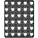 Black & White Hearts Medium Fleece Blanket - Fleece Blanket (Medium)