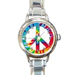 TIE DYE PEACE SIGN ROUND ITALIAN CHARM WATCH