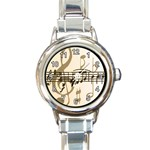 CLASSY MUSIC NOTES SONG ROUND ITALIAN CHARM WATCH