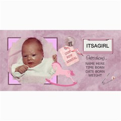 Baby Girl Announcement Cards By Lil    4  X 8  Photo Cards   0jpl4vepkzr9   Www Artscow Com 8 x4 Photo Card - 1