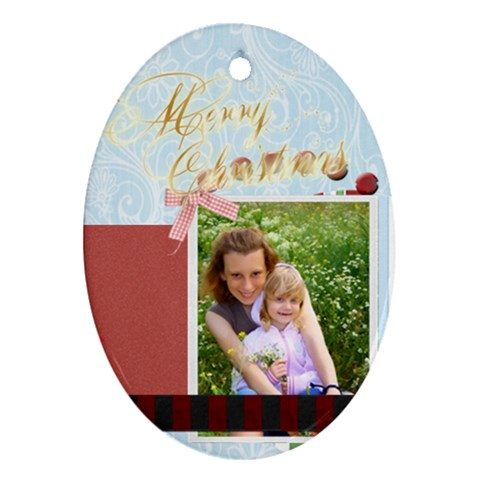 Christmas By Joely   Ornament (oval)   Goih0i3ki5d2   Www Artscow Com Front