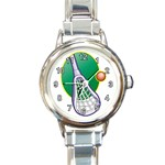 LACROSSE STICK BALL ROUND ITALIAN CHARM WATCH