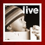 Live Laugh Love christmas red photo cube - Magic Photo Cube