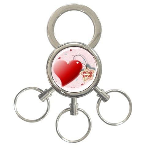 Red Heart With Love By Daniela   3 Ring Key Chain   45dwaqhyxiyo   Www Artscow Com Front
