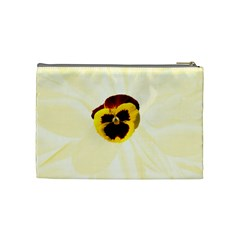 Yellow Pansy Medium Cosmetic Case By Joan T Back