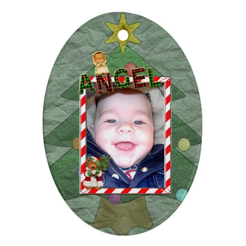 Angel Christmas Ornament   1 Sided By Lil    Ornament (oval)   J0t0jbz15exv   Www Artscow Com Front