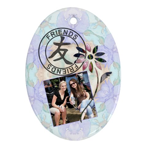 Friends & Fower Oval 1 Sided Ornament By Lil    Ornament (oval)   Ipbem7qsns1c   Www Artscow Com Front