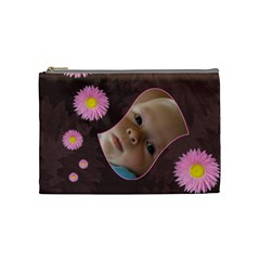 Pink Daisy Medium Cosmetic Case By Joan T   Cosmetic Bag (medium)   Seyt0vnfmhnu   Www Artscow Com Front