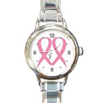 BREAST CANCER AWARENESS RIBBON HEART ROUND ITALIAN CHARM WATCH