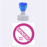 no drinking - Rubber Stamp Round (Medium)
