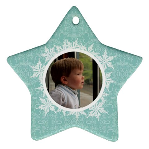 Tiffany Blue Snowflake Star Ornament By Klh   Ornament (star)   Elje9g6t4135   Www Artscow Com Front